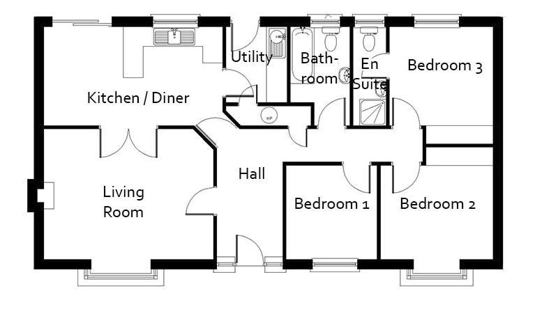 Plano de casa formal de 3 dormitorios y 96 metros for Plano apartamento 3 habitaciones