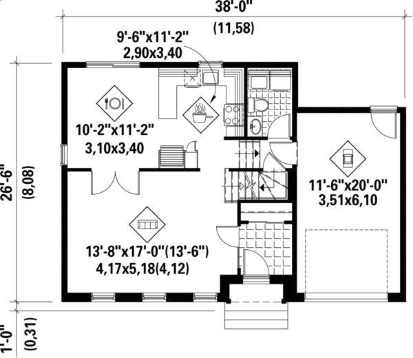 İki katlı, 3 yatak odası ve 127 metrekare ile zemin kat planı klasik ev