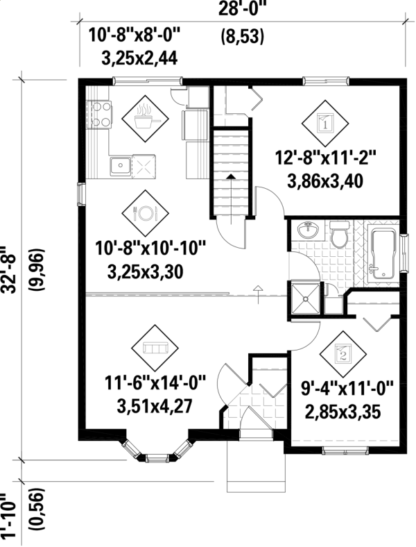Plano de casa sencilla de dos dormitorios y 82 metros for Planos planos de casas