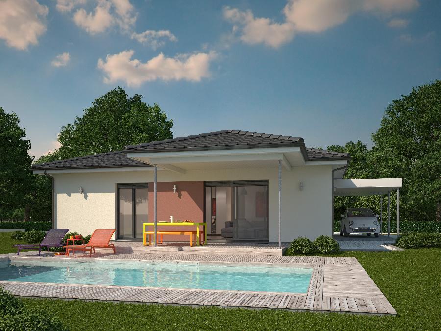 Fantastico plano en 3d de casa de una planta y tres for Diseno de apartamentos de 90 metros cuadrados
