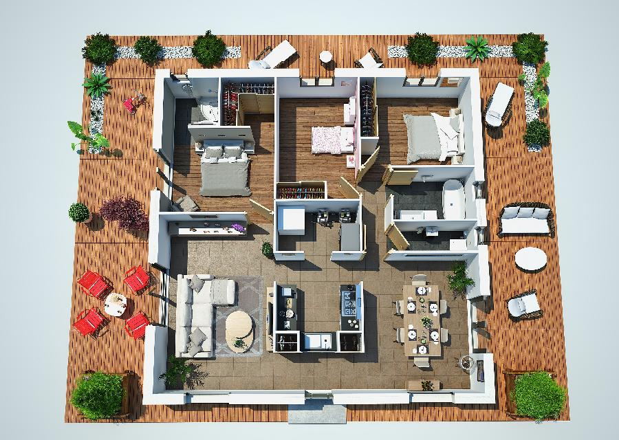 Fantastico plano en 3d de casa de una planta y tres for Plano casa minimalista 3 dormitorios