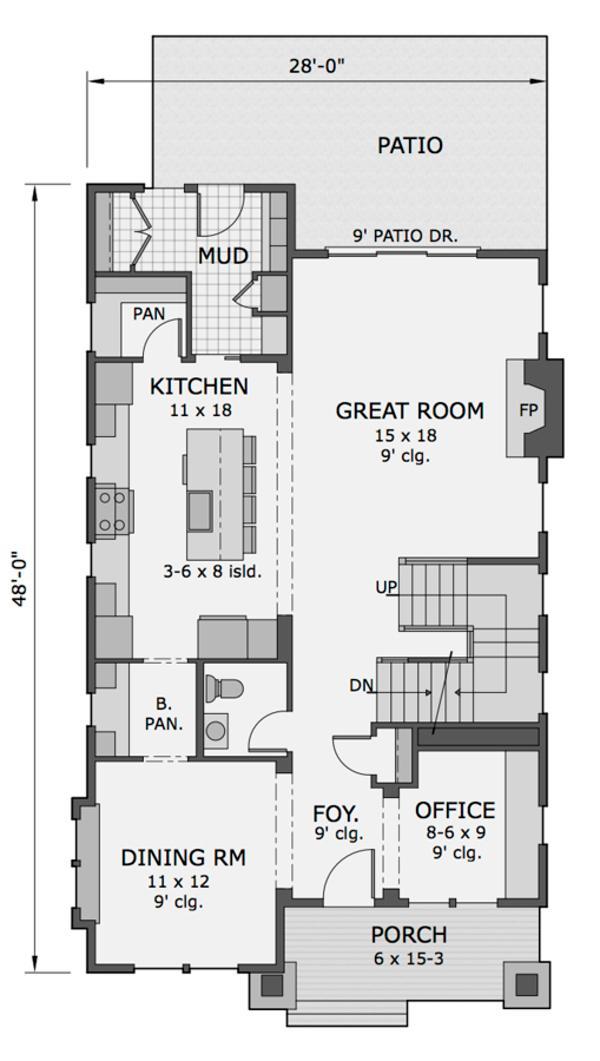 plano de casa americana de dos plantas tres dormitorios