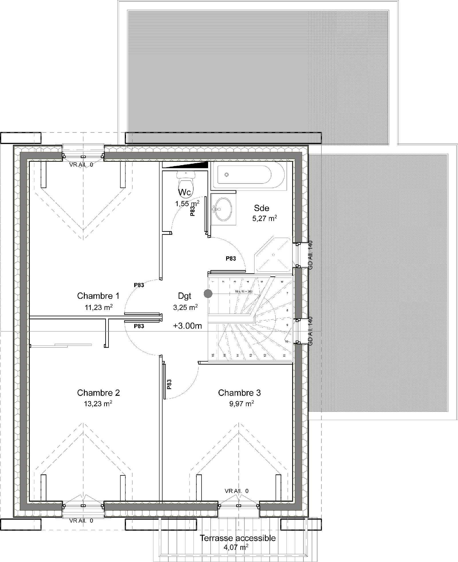 casa de dos plantas, 4 dormitorios y 109 metros cuadrados planos
