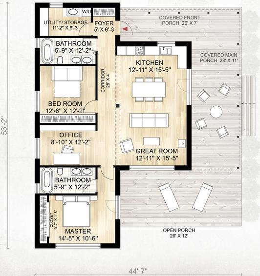 Genial casa de campo de una planta 2 dormitorios y 114 for Casa minimalista 6 x 12