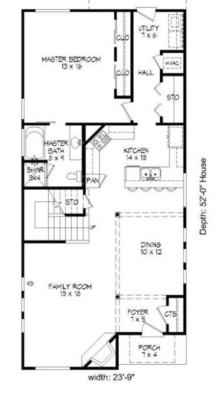 Plano planta baja casa de dos pisos y 3 dormitorios