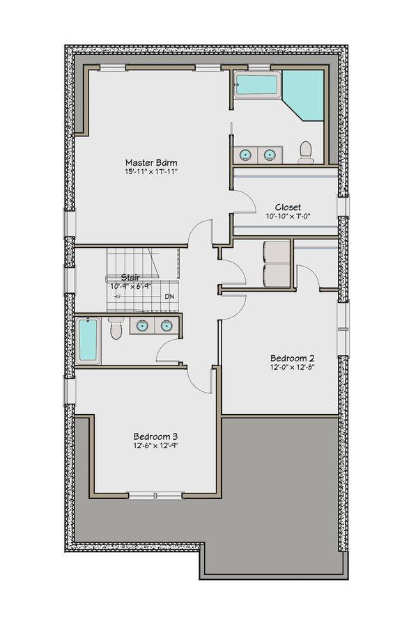 plano planta alta casa de dos pisos y cuatro dormitorios