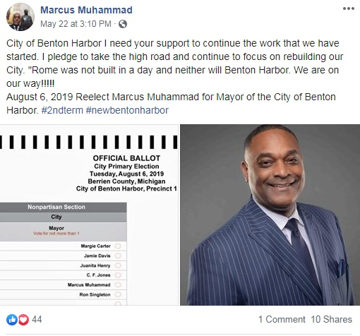 Marcus Muhammad Mayor of Benton Harbor in Michigan
