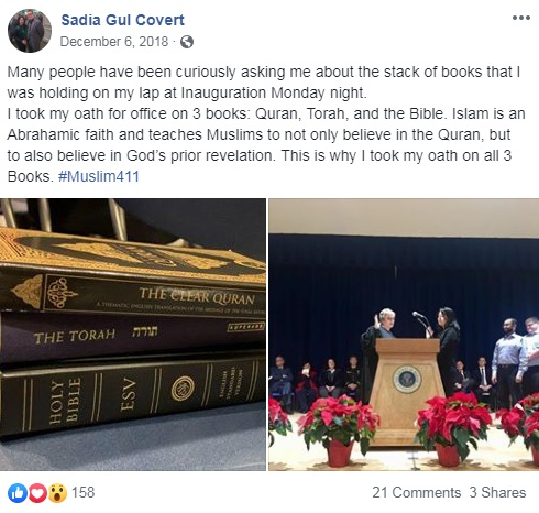 Sadia Gul Covert sworn into office on the Quran, Torah, and the Bible.