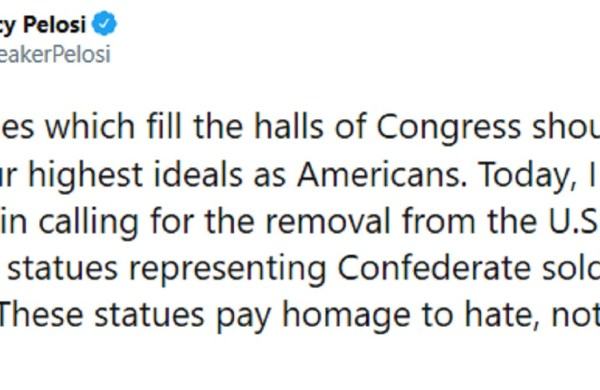 Nancy Pelosi Calls For Removal of Confederate Statues from the United States Capitol