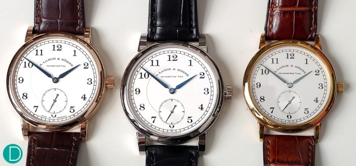 The three generations of the 1815. The latest variant of the 1815 is on the left (in Pink Gold), while the original variant of the 1815 is on the right (in Yellow Gold).