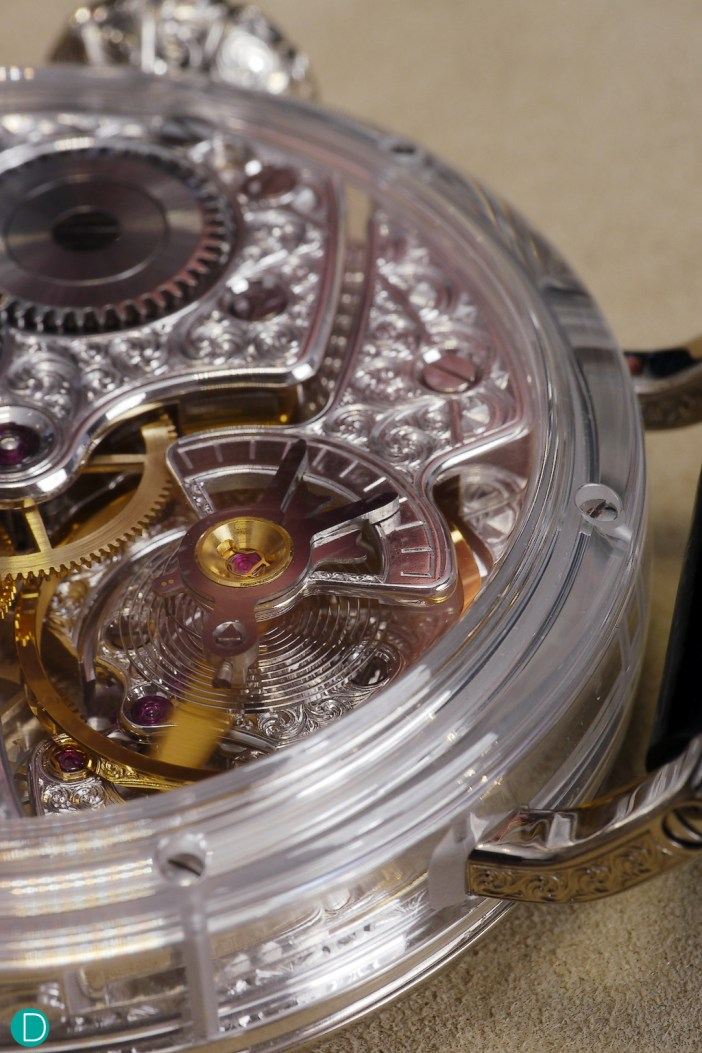 The movement is the Zenith Caliber 5011k, with fully hand engraved bridges. Encased in a sapphire crystal case.