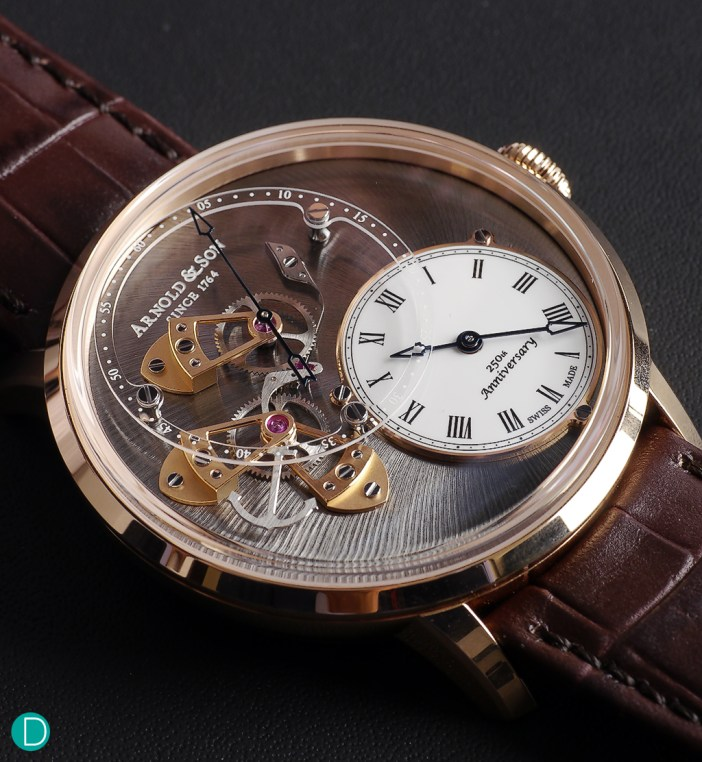 Arnold & Son DSTB (Dial Side True Beat), with the dead beat mechanism shown proudly on the dial side of the movement.