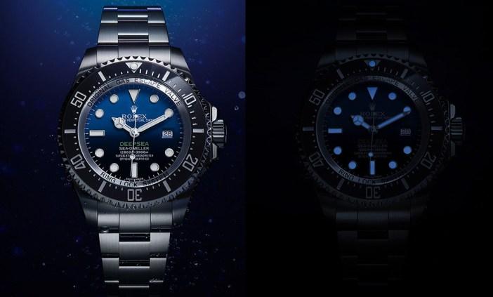 The Rolex Deepsea D-Blue, in different lighting scenarios.