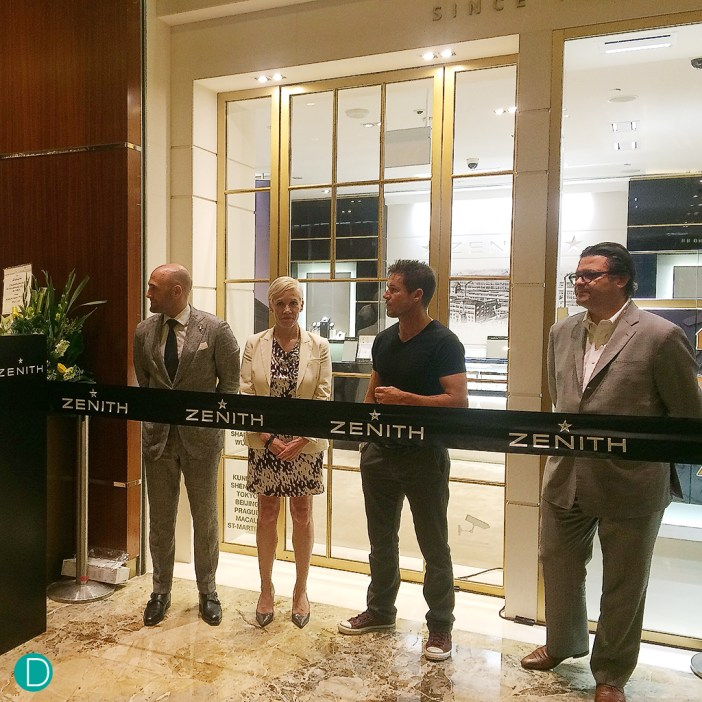 Mr Magada, together with Mr Felix Baumgartner (Brand Ambassador), Miss Lindsay Nicholas (Retail Marketing at The Shoppes at Marina Bay Sands), and Mr Hugo Escude (Brand Director of Zenith South East Asia), at the ribbon cutting ceremony.