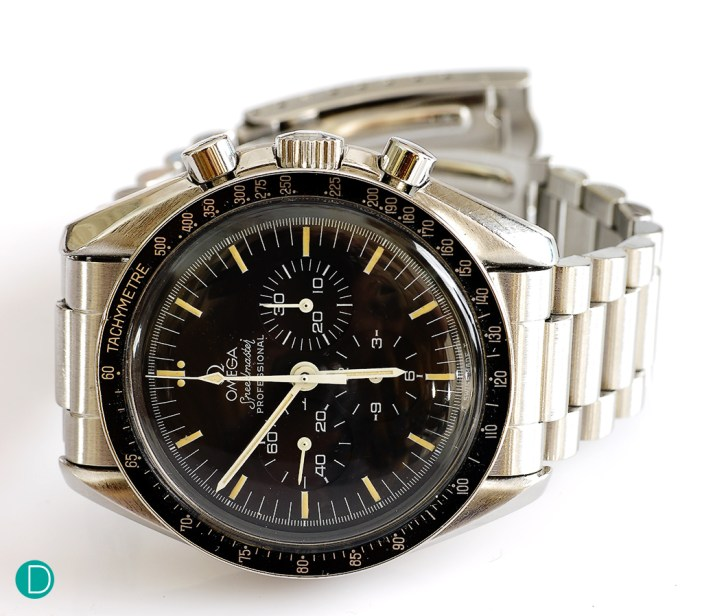 The iconic Omega Speedmaster Professional. This is the earlier model using the tritium lume, and it has developed a nice patina overtime.