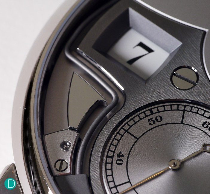 Detail on the dial, showing the hammers which takes design cues from the Time Bridge. Note the exposed gongs, allowing the one to see the strikes as it happens.