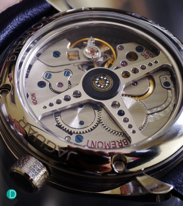 The movement, BWC/01, while not in-house manufactured, is made by La Joux Perret in collaboration with Bremont using some English parts, and is nicely finished.<br />  But the nice touch is the winding rotor which mimics the steering wheel of the Jaguar E Type