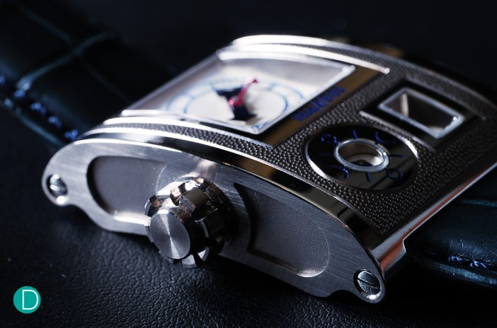 The Goldpfiel Vianney Halter case is in white gold, and shaped to curve on the wrist on a rectangular case design. The crown, as is typical in Vianney's watches is especially elaborate, and is hand machined to exact dimensions much like the column wheel of a chronograph.