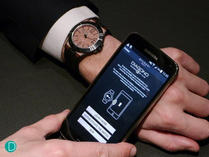 The Bulgari Magnesium Wrist-vault communicates with the smart phone in close proximity to exchange a highly secure digital certificate to unlock the vault within the phone to allow the user to access confidential data.