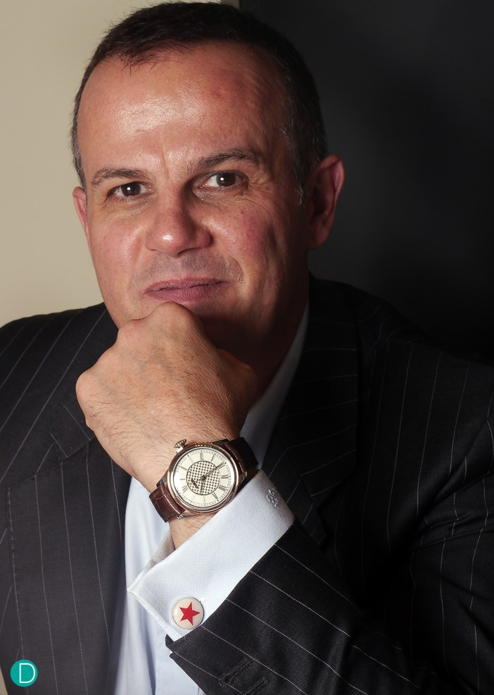 Wrist shot, with the watch strapped on the wrist of current CEO Olivier Muller.