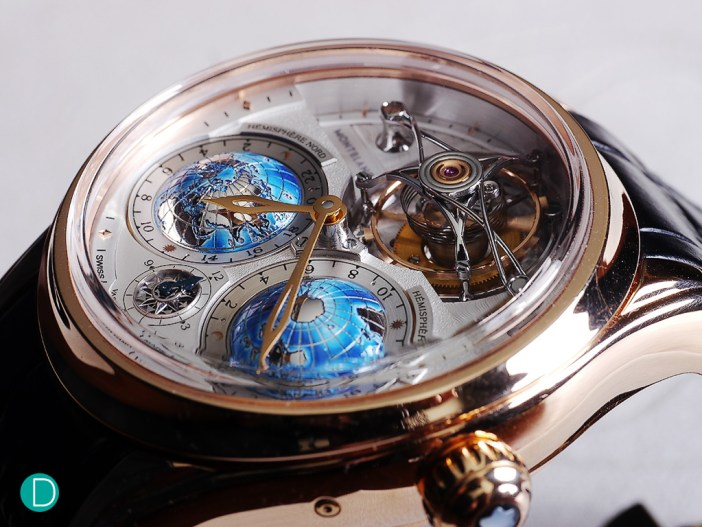 Montblanc Tourbillon Cylindrique Geosphères Vasco da Gama's distinctive dial. Note the multi-level approach to show off the design elements of the dial.