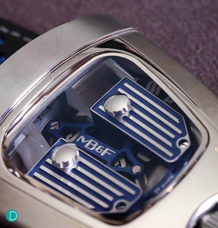 MB&F HMX through the top covers showing the movement and the colour detailing. This oen is in Bugatti blue.