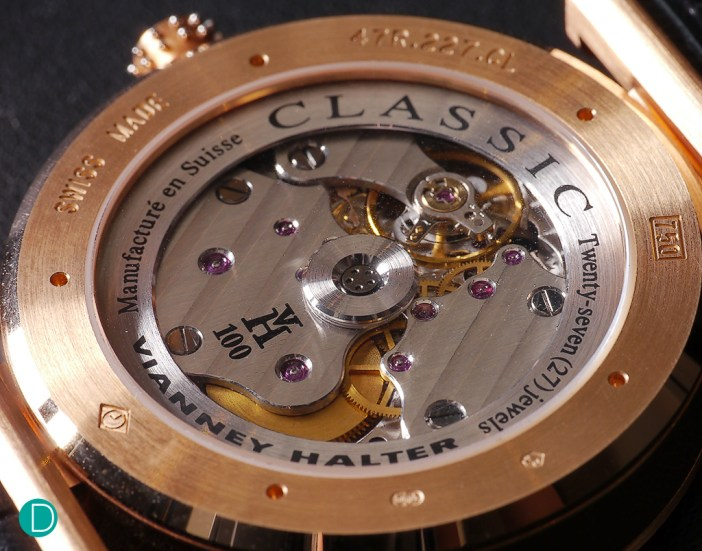 The Vianney Halter Classic movement. The entire movement is visible through the sapphire center of the rotor.