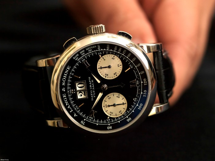 The Lange Datograph. Seen here in the original platinum case, and movement.