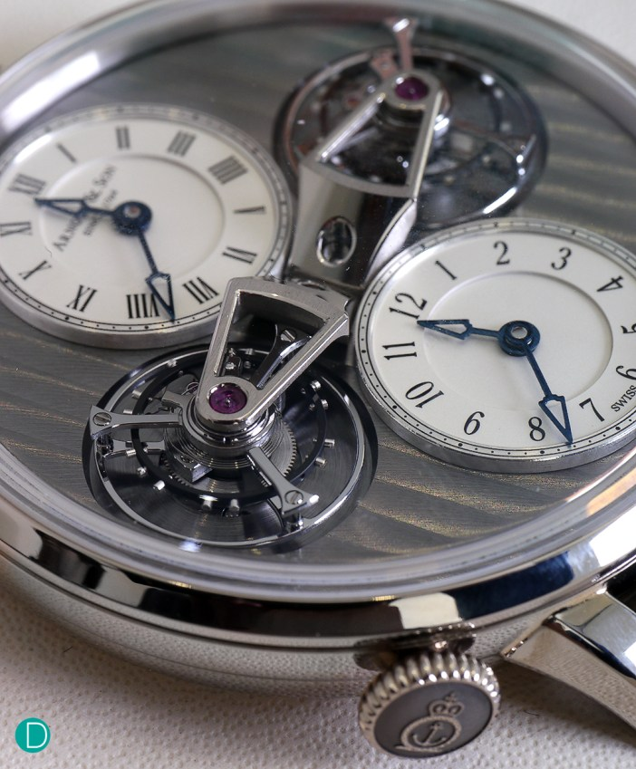 Another view of the dial side. The dual suspended tourbillons are quite a visual specatacle.