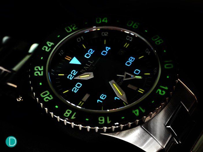Ball Engineer Hydrocarbon AeroGMT in the dark, showing the various colors of the micro gas discharge tubes.