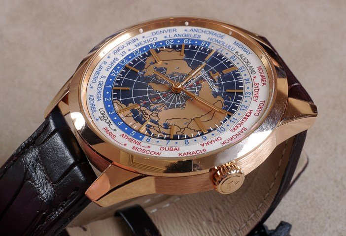 JLC Geophysic Universal Time in pink gold. The dial features an engraved motif of the map of the Earth. continents in pink gold, and a magnificent blue lacquer for the oceans.