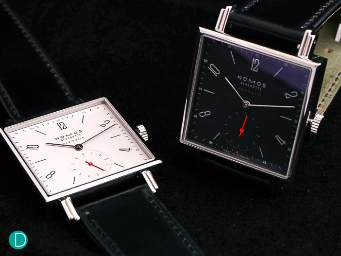 The new Nomos Tetra neomatik, with two different dial variants.