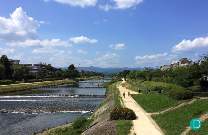 The Kamo River, by the side of the Ritz Carlton Kyoto, and the cycling path.