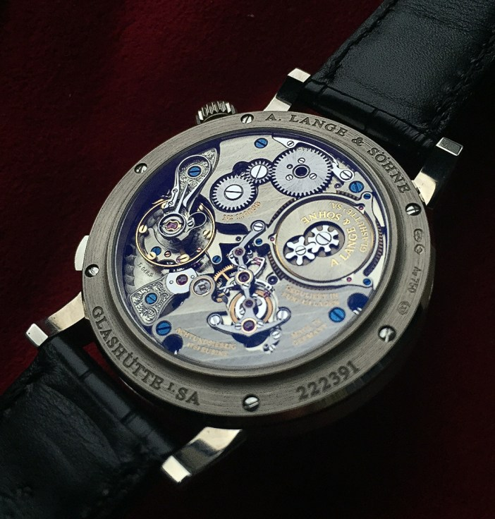 The case back of the author's Zeitwerk Striking time, showing the magnificent movement. Photo by Frank Chuo.