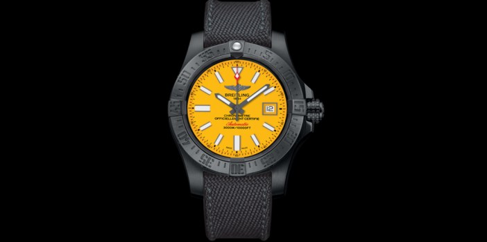 The Breitling Avenger II Seawolf Blacksteel, featuring a