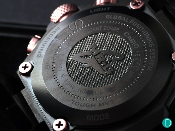 The case back of the MRG-G1000HT with the engraved G-Shock logo,