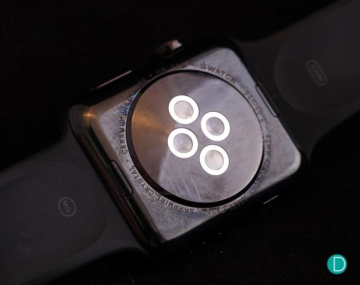 Caseback of the Apple Watch Series 2.