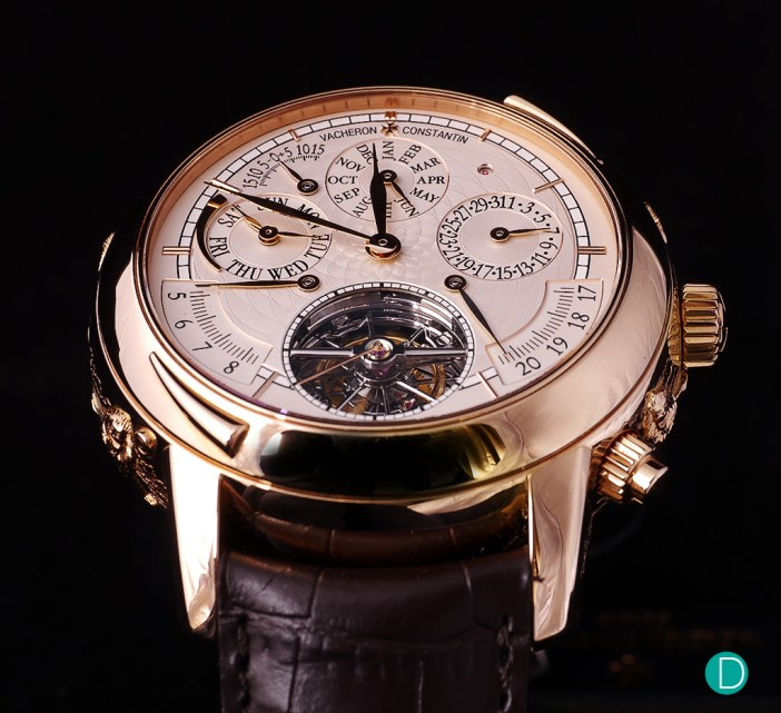 The dial shows multiple complications and the tourbillon.