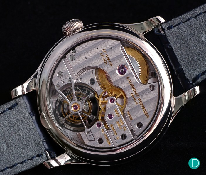 Caseback view of the Galet Classic Tourbillon Double F