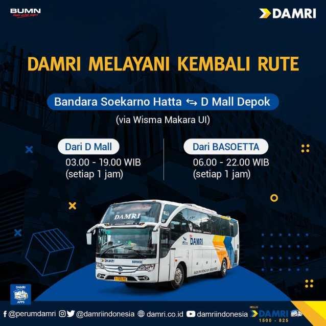 Damri Kembali Buka Rute Bus Depok Bandara Soekarno Hatta