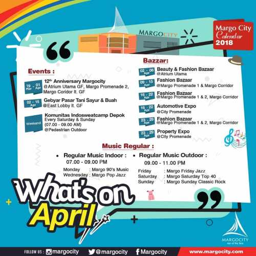Agenda Kegiatan / Event Margo City di Bulan April 2018