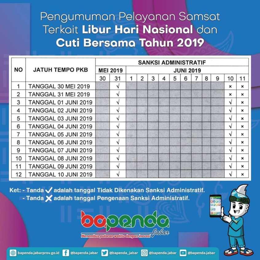 Pengumuman Pelayanan Samsat Terkait Libur Hari Nasional dan Cuti Bersama Tahun 2019
