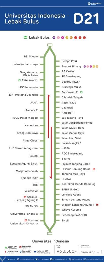 Transjakarta D21 Rute Universitas Indonesia Lebak Bulus