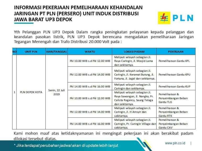 Pemadaman Listrik Bergilir di Depok 22-26 Juli 2019 PLN Depok Kota - 1