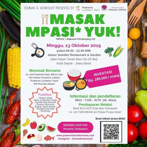 Seminar Workshop Masak Mpasi di Jamur Sweden Restaurant Garden Tanah Baru Depok 13 Oktober 2019