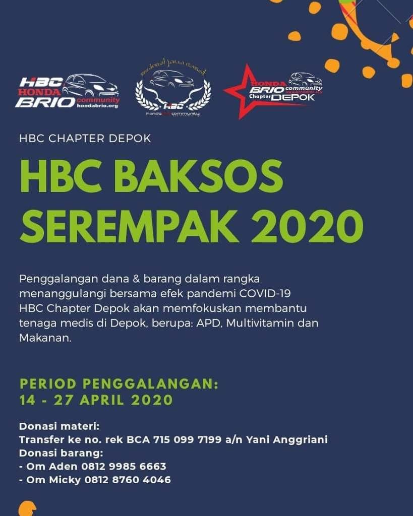 Baksos Serentak HBC Honda Brio Community Chapter Depok 2020