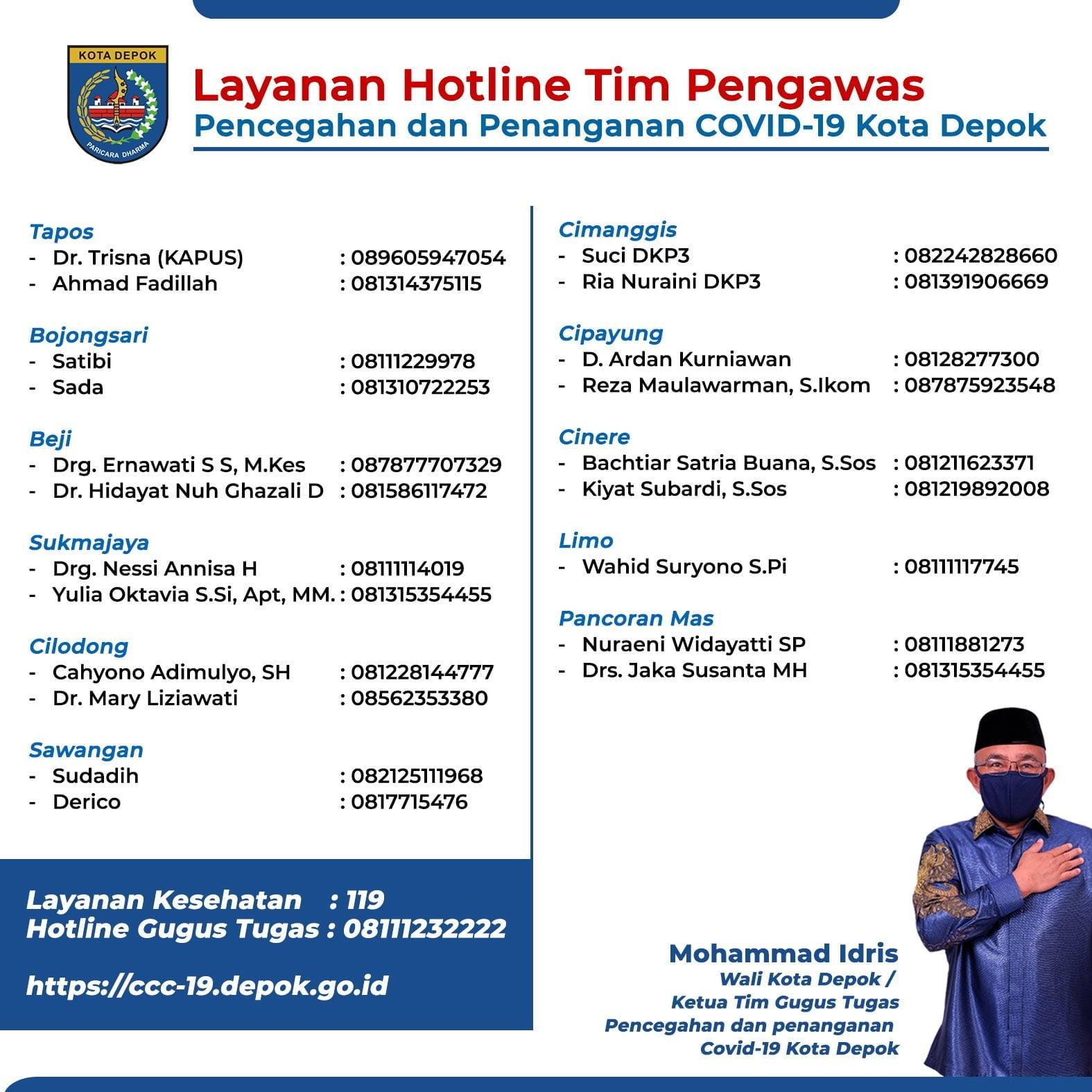 Layanan Hotline Tim Pengawas COVID-19 Kota Depok