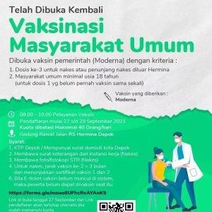 Vaksinasi Masyarakat Umum di RS Hermina Depok 27-29 September 2021 Vaksin Moderna