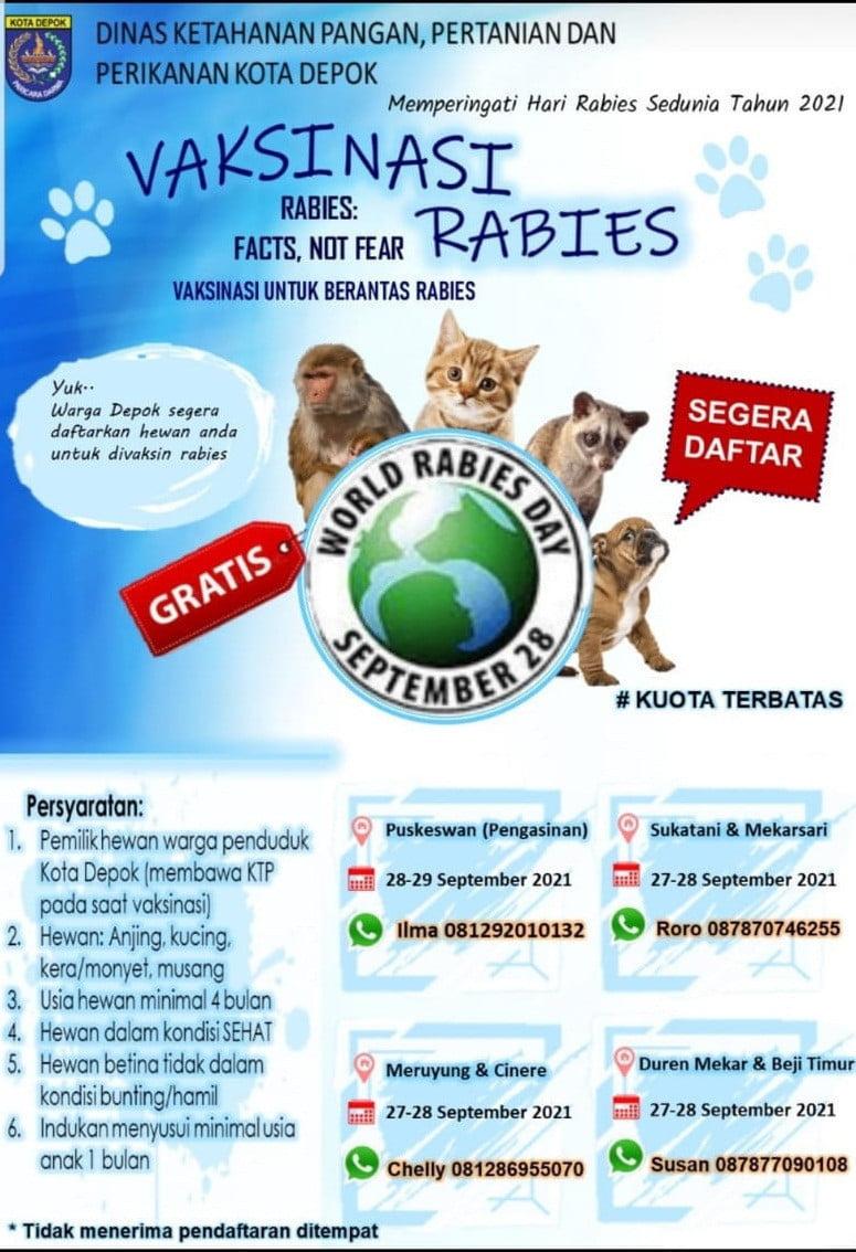 Vaksinasi Rabies Gratis di Depok Memperingati Hari Rabies Sedunia 2021