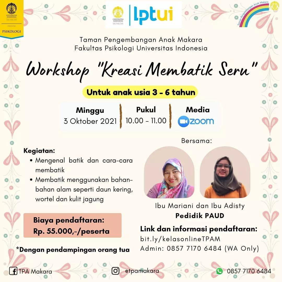 Workshop Membatik TPA Makara UI 3 Oktober 2021